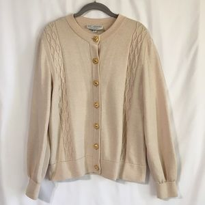 St John Collection Knit Cardigan w/ Gold Buttons